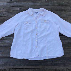 JM Collection Women Shirt 100% Linen Cream Size 18